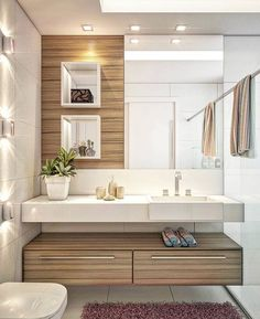 The bathroom with modern design is the perfect option for a contemporary home. House Bathroom, Trendy Bathroom, Modern Master Bathroom, Bathroom Layout, Bathroom Interior, Modern Bathroom, Bathroom Sink Decor, Bathroom Decor, Beautiful Bathrooms