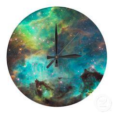 Clock Hourglass Time:  Nebula Wall Clock.