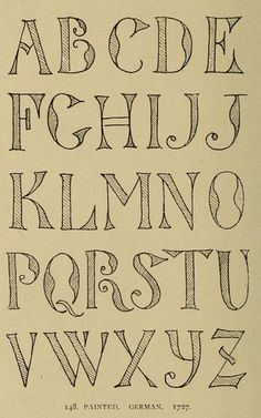 Painted German #alphabet, 1727 | Alphabets old and new, for the use of craftsmen (1910), Lewis Foreman Day