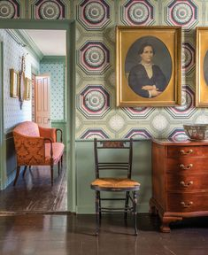 Bold in both its design and colors, 'Coffered Rosette' packs a decorative wallop and has become a favorite of the Museum's visitors. Interior Design Layout, Layout Design, American Interior, English Interior, House Journal, Georgian Homes, Georgian Interiors, Fireplace Wall, Decoration