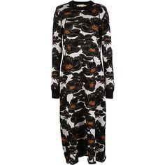 Marni Long Dresses ($635) ❤ liked on Polyvore featuring dresses, black, black dress, floral pattern dress, round neck dress, marni dress and black floral print dress