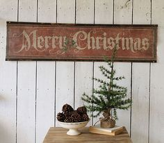 Vintage Farmhouse Christmas Decor 3495 Merry Scroll Rustandrelics