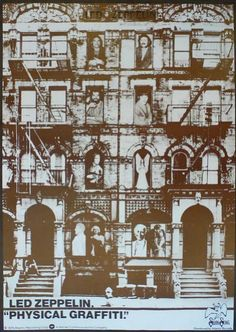 "An Atlantic Records cardboard in-store display advertising Led Zeppelin's 1975 album, ""Physical Graffiti."" This 22 x 31 display features unique artwork similar to the album cover, but featuring different imagery, color and people in the windows. Led Zeppelin Physical Graffiti, Led Zeppelin Albums, Brick In The Wall, Display Advertising, Music Pics, Make A Case, Rock Legends, Poster Wall, Rock Art"