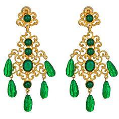 Kenneth Jay Lane Emerald Earrings at HAUTEheadquarters.com