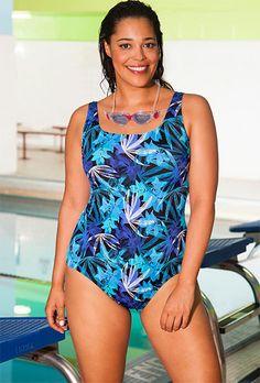 06ff13c4d08 Aquabelle Blue Flare Plus Size Swimsuit Plus Size Swimsuits