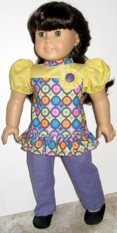 American Girl Outfit:  Ruffle Tunic and Slim Leg Purple Pants by ILuvmCreations on Etsy