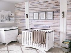 rustic nursery with wood print wallpaper accent wall Nursery Modern, Rustic Nursery, Coastal Nursery, Nursery Neutral, Whitewash Wood, Nursery Room, Nursery Ideas, Room Ideas, Nursery Prints