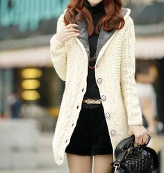 Women's Hooded Cable Knit Cardigan with Inner Fur