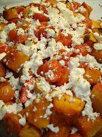 Pompoen met feta en kerstomaten - Heerlijk recept volgens Pascale Naessens.