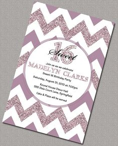 Sparkly Chevron 16th Birthday Invitations, DIY Sweet  Sixteen Birthday Party Invitations and Matching Party Decorations