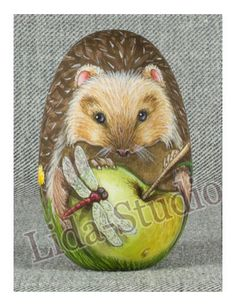 "Egg. 6cm. ""Hedgehog, Apple and Dragonfly"" by ""Lida-Studio"" Artist:M.Skorokhodova in 