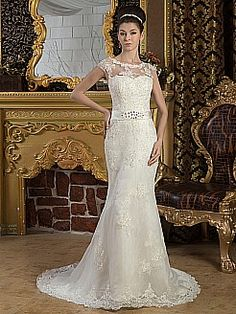 Satin and Tulle Mermaid Wedding Dress with Beading and Appliques - USD $245.99