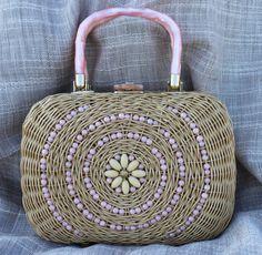 Vintage Woven Purse Handbag Vintage Wicker Beaded Purse Vintage Beaded Handbag Basket. $25.00, via Etsy.