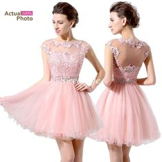 Under $100 Cheap Pink Short Prom Dresses Lace Beaded Cap Sleeves Illusion Bateau Neck Mini Tulle Sexy Girls Homecoming Party Cocktail Dress Online with $73.81/Piece on Sweet-life's Store | DHgate.com