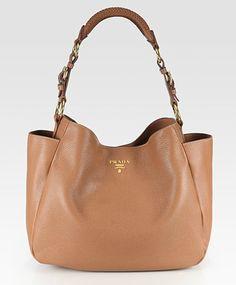 Prada Vitello Daino Side Pocket Hobo in tan Hobo Handbags, Prada Handbags, Purses And Handbags, Leather Handbags, Leather Bag, Hobo Bags, Pebbled Leather, Leather Totes, Brown Leather