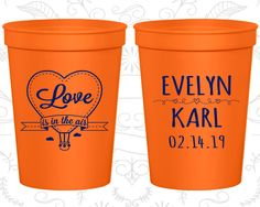 Love is in the Air Wedding Cups, Wedding Favor Plastic Cups, Hot Air Balloon Cups, Love Wedding, stadium cups (229)