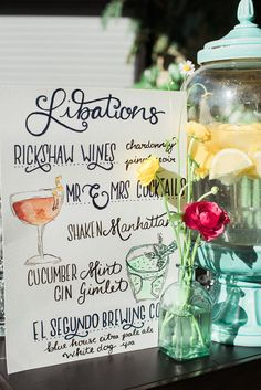 drink menu - photo by Christina Lilly http://ruffledblog.com/los-angeles-foodie-wedding