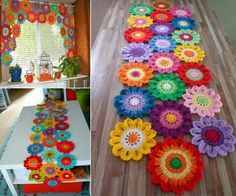 Crochet Puff Flower Crochet large flowers, connect for placemats and runners. - You will love to make this Crochet Puff Flower Blanket and it's a fabulous free pattern. We've also included a video tutorial to show you the process. Crochet Diy, Diy Crochet Flowers, Beau Crochet, Crochet Puff Flower, Crochet Flower Tutorial, Crochet Gratis, Crochet Flower Patterns, Crochet Home, Knitting Patterns
