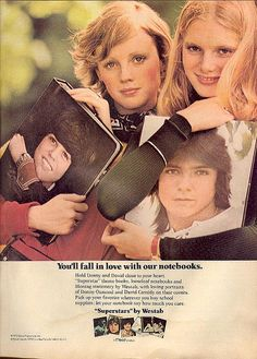 Vintage Back-To-School Ads Show a Much (Much) Different Time, David Cassidy & Donny Osmond.I may have to re-thin David Cassidy with all the hijinx he's been involved with recently. Vintage Advertisements, Vintage Ads, Retro Ads, Retro Advertising, Vintage Makeup, Vintage Stuff, Ed Vedder, Nostalgia, Donny Osmond