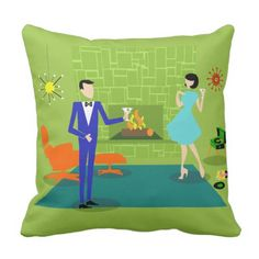 Mid Century Trendy Couple Throw Pillow. *** Have a look at even more by visiting the image link