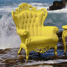 Baroque Chair in Yellow. Interesting to have fabric and wood match