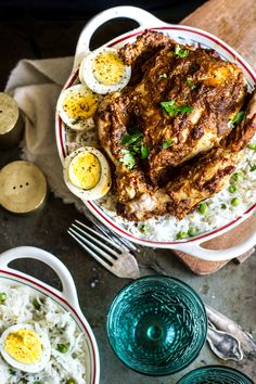 Steamed Masala Whole Chicken (Murgh Musallam) and Rice with Peas