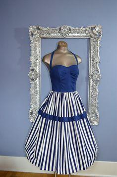 1950s striped day dress 50s sundress Size x small by melsvanity, $136.00