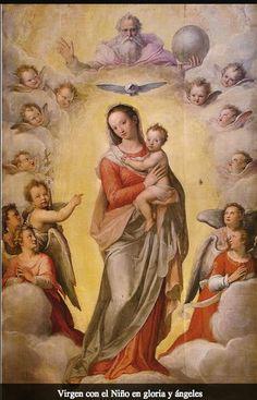 Virgen con el Niño en gloria y ángeles