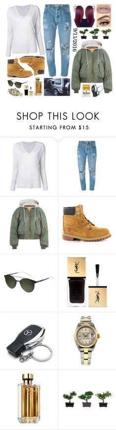 """9/11/2016"" by bianca-cazacu ❤ liked on Polyvore featuring Vince, RE/DONE, Vetements, Timberland, Carrera, Yves Saint Laurent, Mercedes-Benz, Rolex, Prada and Castello"