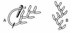 PONTO NÓ FRANCES Puxe a agulha no lugar onde será feito o ponto, mantenha a linha presa com o polegar esquerdo e enrole a linha duas vezes n...