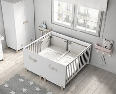 Twin cribs, Baby room rugs, Twin baby rooms, Baby cribs for twins, Baby room . Small Twin Nursery, Small Baby Cribs, Baby Cribs For Twins, Twin Baby Girls, Nursery Twins, Triplets Bedroom, Twin Baby Beds, Twin Baby Rooms, Twin Cribs