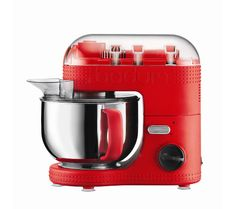 The Bodum 11381-294UK Bistro Food Mixer has a funky design and plenty of features.  A compartment in the top houses three easily fitted attachments for kneading, mixing and whisking, whilst 7 speed levels keep you in control of your dough.