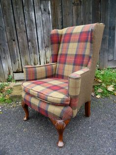 Edwardian wingback armchair re-upholstered in Moon tartan check wool fabric.very christmassy Reupholster Furniture, Chair Upholstery, Chair Fabric, Upholstered Furniture, Wool Fabric, Tartan Chair, Poltrona Vintage, Knoll Chairs, Tweed