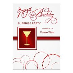 70th Birthday Surprise Party Invitations - Red