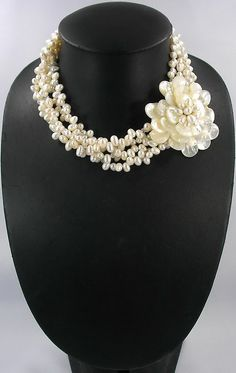 Bead Necklace,Beaded Jewelry,Pearl Necklace With MOP Shell Freshwater Pearl