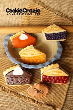 CookieCrazie: Slice of Pie Cookies (Tutorial) Galletas Cookies, No Bake Cookies, Cute Cookies, Sugar Cookies, Fall Cookies, Thanksgiving Cookies, Cookies Decorados, Iced Cookies, Yummy Cookies