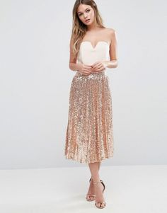 TFNC | TFNC Pleated Midi Skirt In All Over Sequin