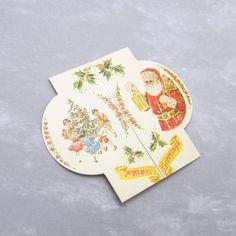 Vintage Christmas Cards Small Santa by HoliDaisy on Etsy, $5.00