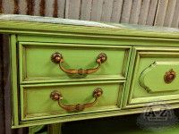 Buffet painted with Benjamin Moore's Paradise Green, accented with dark wax, by A to Z Custom Creations