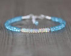 Ethiopian Welo Opal & Sky Blue Topaz Bracelet in Sterling Silver, Rose or Gold Filled. Dainty Gemstone Stacking Bracelet. Beaded Jewellery