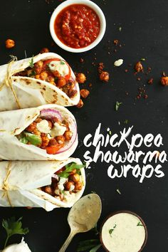30-Minute Chickpea Shawarma Wraps! So delicious, flavorful and HEALTHY! #recipe #healthy #vegan #plantbased #mediterranean #minimalistbaker