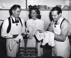 U.s. Vice President Henry Wallace, Dinah Shore And Bob Hope Have A Good Laugh While Washing Dishes At The Hollywood Canteen