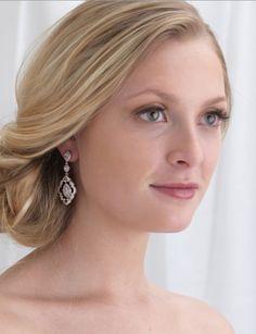 Vintage Look CZ Teardrop Dangle Rhodium Plated Bridal Earrings - Affordable Elegance Bridal -