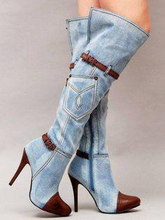 e659526f19d Hip Accessory Blue Denim Long Boot Women Brown PU Leather Patchwork Knee  High Boots