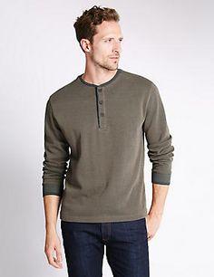 Pure Cotton Crew Neck Textured T-Shirt