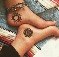 Attractive Bohemian Henna Sun Tattoo Design for Ankle