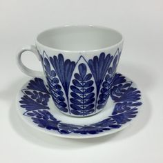 Arabia Finland Indigo Blue Handpainted Cup and Saucer