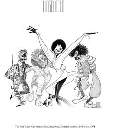 "Al Hirschfeld ~ Diana Ross, Michael Jackson, Nipsey Russell, and Ted Ross in ""The Wiz"""