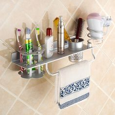 Multi-function space aluminum shelf for hair dryer holder and gargle cup and toothbrushes holder on the wall in bathroom #Affiliate