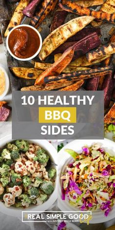 Looking for fresh and delicious BBQ sides? From cucumber salad to grilled sweet potato fries, we have you covered for your next potluck or outdoor cookout with friends and family. When it comes to BBQ side dishes, there are so many great options for fresh summer flavor. Whether it's a creamy and crunchy coleslaw, an amazing potato salad or a simple watermelon salad, this roundup has you covered. | @realsimplegood #paleosummersidedishes #healthysummersides #healthyjuly4thsides Brisket Side Dishes, Brisket Sides, Side Dishes For Ribs, Grilled Side Dishes, Healthy Side Dishes, Side Dishes Easy, Vegetable Side Dishes, Veggie Side, Grilling Sides